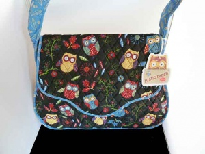 Rustic Ranch Black Owl Satchel Knitting Bag