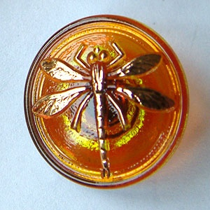 Dragonfly Buttons - Amber - Small Size
