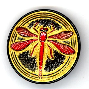 Dragonfly Buttons - Black, Red and Gold