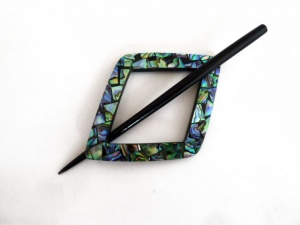 Shell Mosaic Square Shawl Pin Set