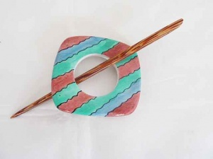 Wooden Hand Painted Square Striped Shawl Pin Set
