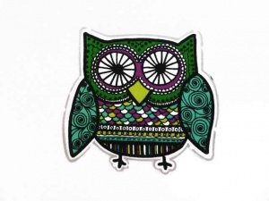 Green Owl Iron on Appliqué