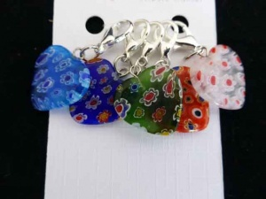 Multi Coloured Millefiori Glass Locking Stitch Markers