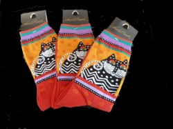 Laurel Burch Spotted Cat Socks - Red Colourway