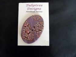 Tuliptree Oval Mauve / Pink / Gold Button