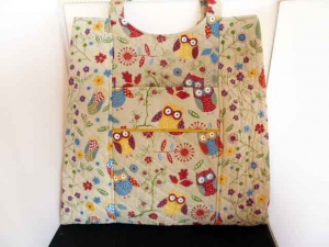 Rustic Ranch Ecru Owl Tote Knitting Bag