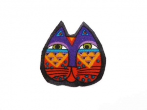 Laurel Burch Purple and Orange Cat Face Iron on Appliqué