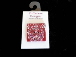 Tuliptree Scarlet Red Square Button