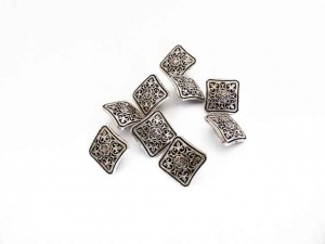 Antique Silver Square Engraved Buttons