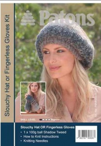 Patons Shadow Tweed Slouchy Hat or Fingerless Gloves Kit