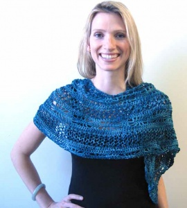 Artyarns Teal Knit Crochet Shawl