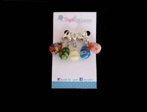 Teardrop Multi Coloured Millefiori Glass Locking Stitch Markers