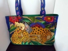 Laurel Burch Leopards of Shambala Medium Tote