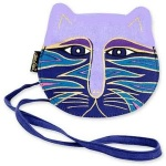 Laurel Burch Small Cross Body Bag - Feline Faces - Lilac