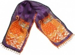Laurel Burch Autumn Felines Silk Scarf - Purple
