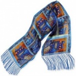 Laurel Burch Indigo Cats Portraits Silk Scarf