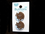 La Mode Brown and Blue Damask Buttons