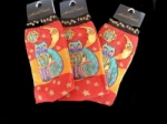 Laurel Burch Celestial Cat Socks - Orange Colourway