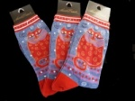 Laurel Burch Crimson Cat Socks - Denim Colourway