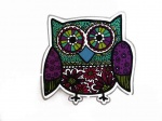 Purple  Owl Iron on Appliqué