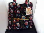 Rustic Ranch Black Owl Tote Knitting Bag