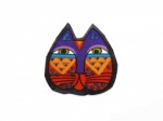 Laurel Burch Purple and Orange Cat Face Iron on Appliqu�