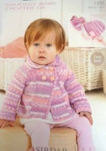 Sirdar Jacket, Bonnet & Bootees Pattern in Snuggly Baby Crofter DK