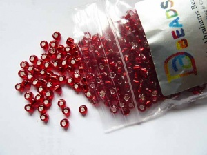Debbie Abrahams Silver Lined Red Beads Size 6/0