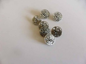 Antique Silver Fretwork Floral Buttons