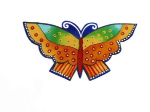 Laurel Burch Orange and Yellow Butterfly  Iron on Appliqué