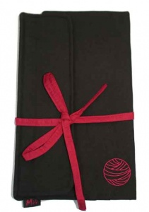 Mili Style Silk Chloe Black / Red Circular Needle Case