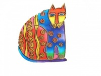 Laurel Burch Spotted Cat Iron on Appliqué