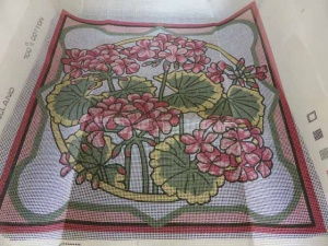 Valerie Green Geranium Cross Stitch Cushion Cover Kit