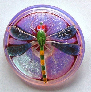 Dragonfly Buttons - Lilac / Silver