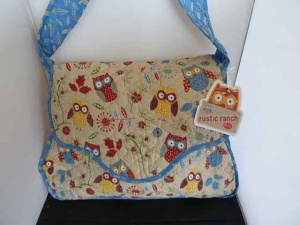Rustic Ranch Ecru Owl Satchel Knitting Bag