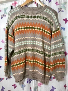 Jaeger Taupe Fair Isle Sweater