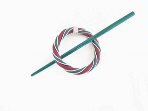 Rattan and Wire Jade and Fuchsia Circular Shawl Pin Set