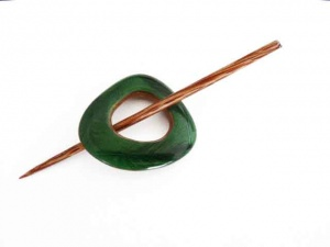 Triangular Emerald Resin Shawl Pin Set