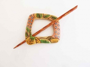 Tie Dye Pangantoon Wood Shawl Pin Set