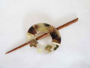 Oval Olive Resin Floral Shawl Pin Set