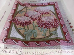 Valerie Green Chrysanthemum Cross Stitch Cushion Cover Kit