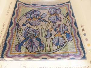 Valerie Green Iris Cross Stitch Cushion Cover Kit