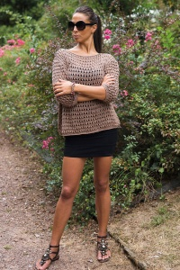 Filatura di Crosa Jasmine Openwork Sweater Kit - Sand Colourway