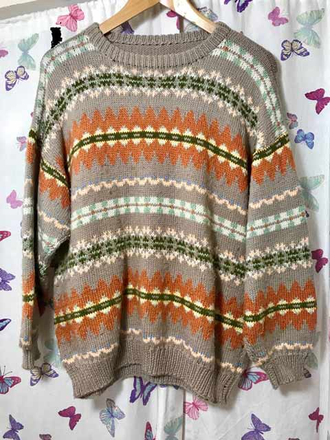 Jaeger Taupe Fair Isle Sweater Jannette S Rare Yarns