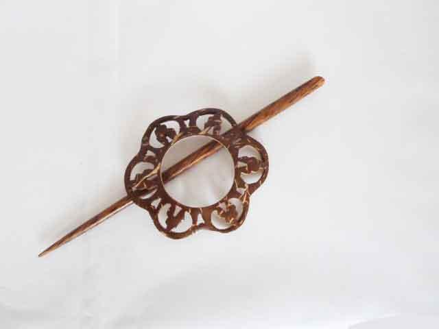 Circular Open Work Wood Shawl Pin Set