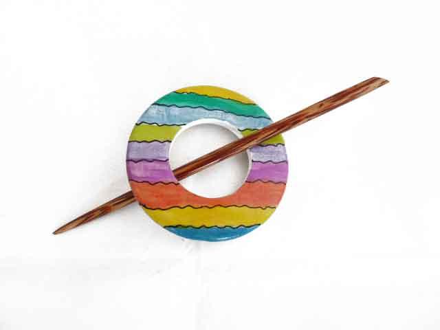 Wooden Hand Painted Circular Rainbow Shawl Pin Set