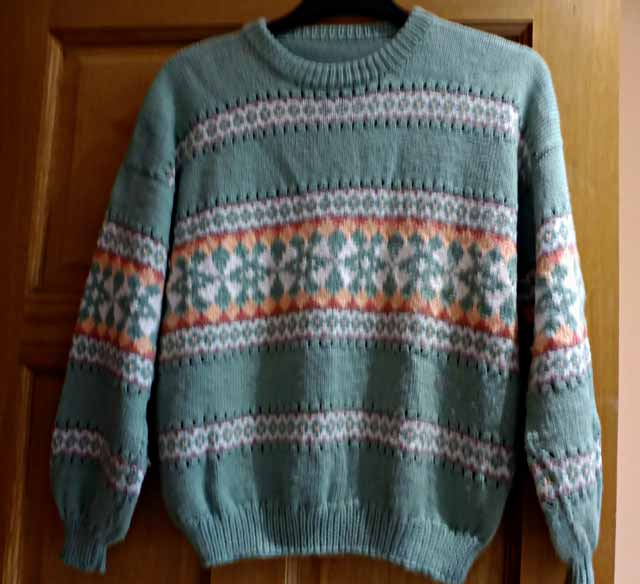 Jaeger Almond Fair Isle Sweater Jannette S Rare Yarns