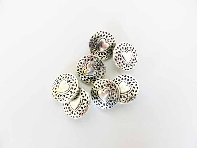 Silver Raised Heart Buttons