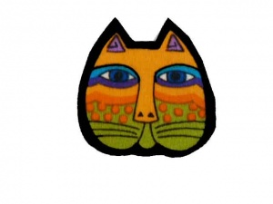 Laurel Burch Orange and Green Cat Face Iron on Appliqué