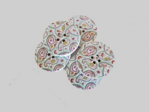Pink and Green Paisley Buttons